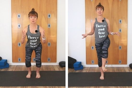 squat and standing balance
