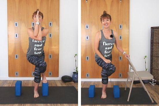 eagle pose modifications using a chair and/ore blocks