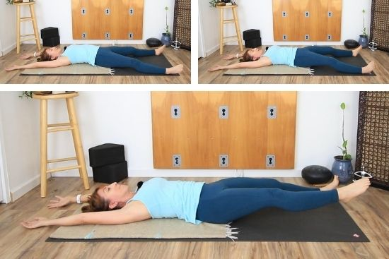 working on core stabilizers in a supine position