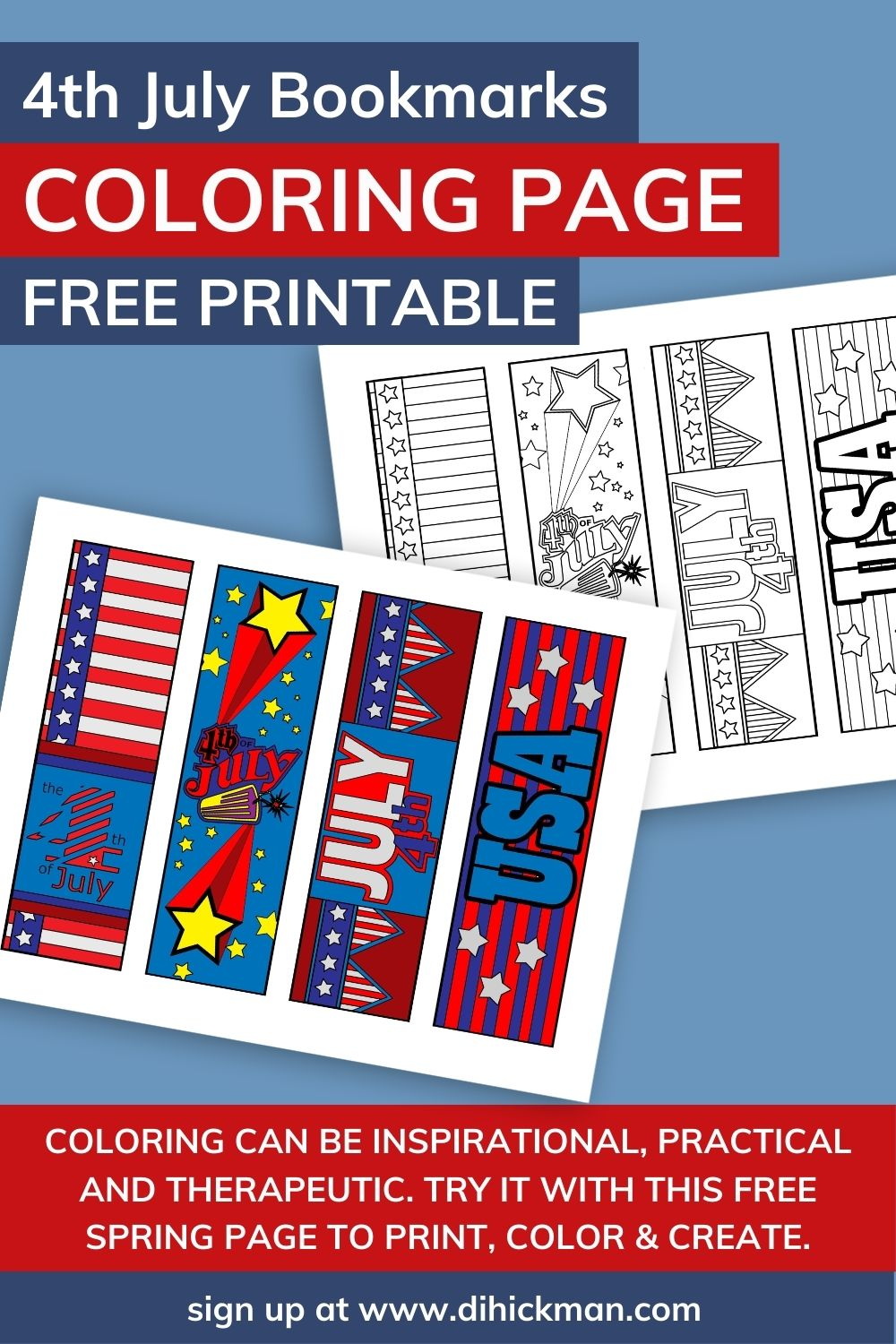 4th July Bookmarks Coloring Page free printable