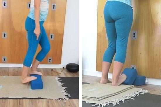 standing on yoga blocks using yoga blocks to stretch calf
