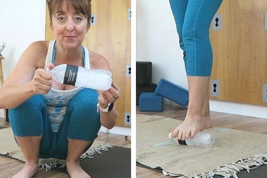foot massage with frozen water bottle
